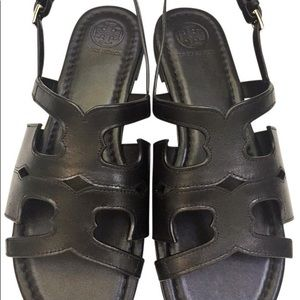 Tonry Burch black leather sandals